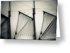 3 Sails In Monotone Of An Old Sailboat Greeting Card