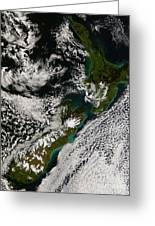 Satellite View Of New Zealand Greeting Card