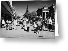 Shoppers And Tourists On Princes Street Edinburgh Scotland Uk United Kingdom Greeting Card