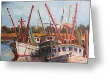 3 Shrimpers At Dock Greeting Card