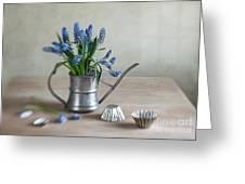 Still Life With Grape Hyacinths Greeting Card