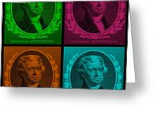 Thomas Jefferson In Quad Colors Greeting Card