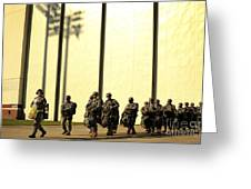 U.s. Army Soldiers Prepare To Board Greeting Card