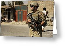 U.s. Army Specialist Provides Security Greeting Card