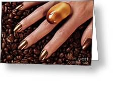 Woman Hands In Coffee Beans Greeting Card