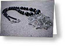 3596 Spiderweb Rhinestone Pendant Necklace Greeting Card