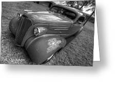 37 Chevy Coupe Bw Greeting Card