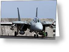 An F-14d Tomcat In Launch Position Greeting Card