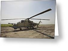 An Mi-35 Attack Helicopter At Kunduz Greeting Card
