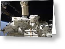Astronauts Working On The International Greeting Card