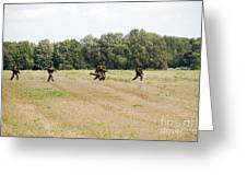 Belgian Paratroopers Proceeding Greeting Card by Luc De Jaeger