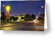 Estonian Gas Station At Night Greeting Card by Jaak Nilson