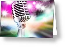 Microphone On Stage Greeting Card by Setsiri Silapasuwanchai