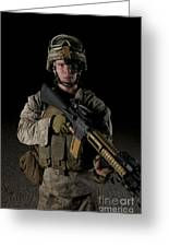 Portrait Of A U.s. Marine Wearing Night Greeting Card
