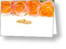 4 Red Yellow Roses And Wedding Rings Over White Greeting Card