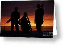 Silhouette Of U.s Marines On A Bunker Greeting Card