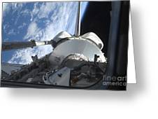 Space Shuttle Discovery Backdropped Greeting Card