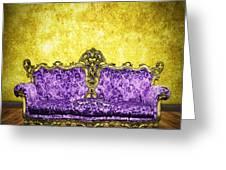 Victorian Sofa In Retro Room Greeting Card