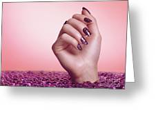 Woman Hand With Purple Nail Polish Greeting Card