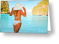 Woman On The Beach Greeting Card