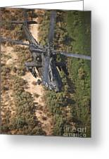 An Ah-64d Apache Helicopter In Flight Greeting Card