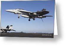 An Fa-18f Super Hornet During Flight Greeting Card