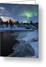 Aurora Borealis Over Tennevik River Greeting Card