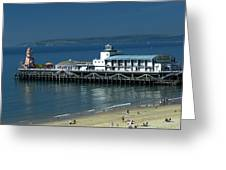 Bournemouth Pier And Beach Greeting Card
