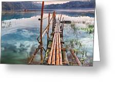 Tamblingan Lake Greeting Card by MotHaiBaPhoto Prints