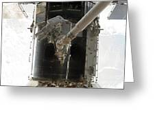 Astronauts Working On The Hubble Space Greeting Card