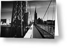 Pedestrian Suspension Footbridge The Greig Street Bridge Over The River Ness Inverness Highland Scot Greeting Card by Joe Fox