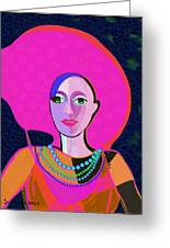 656 - Woman With Summer Hat Greeting Card
