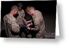 U.s. Marines Fold The American Flag Greeting Card
