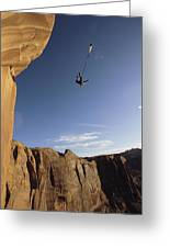 A Base Jumper Leaping With A Parachute Greeting Card