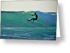 A-bay Sunset Surfer Greeting Card by Bette Phelan