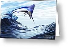 A Beautiful Blue Marlin Bursts Greeting Card