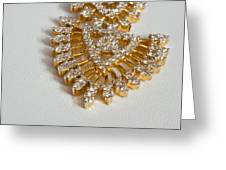 A Beautiful Gold And Diamond Pendant On A White Background Greeting Card