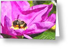 A Bee In A Rose Brpwc Greeting Card