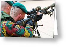 A Belgian Paratrooper Handling A Sniper Greeting Card