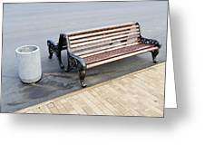 A Bench To Rest In A Public City Park Greeting Card