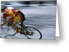 A Bicyclist Speeds Past In A Race Greeting Card