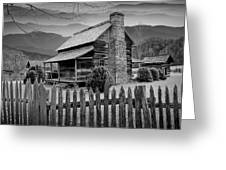 A Black And White Photograph Of An Appalachian Mountain Cabin Greeting Card
