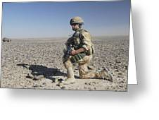 A British Army Soldier On A Foot Patrol Greeting Card