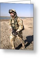A British Army Soldier On Patrol Greeting Card