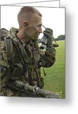 A British Army Soldier Radios Greeting Card by Andrew Chittock