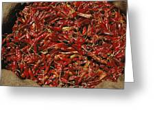 A Burlap Bag Full Of Red Hot Peppers Greeting Card by James P. Blair