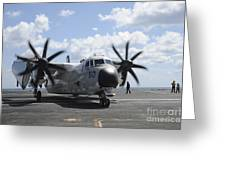 A C-2a Greyhound Taxis On The Flight Greeting Card