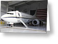 A C-40 Clipper In A Hangar Greeting Card