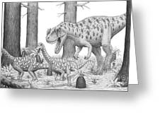 A Ceratosaurus Chasing Young Greeting Card
