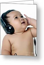 A Chubby Little Girl Listen To Music With Headphones Greeting Card